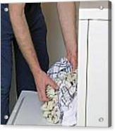 Male Doing Laundry Acrylic Print