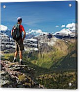 Male Hiker Standing On Top Of Mountain Acrylic Print