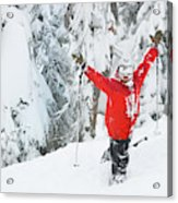 Male Skier Throws His Hands Acrylic Print