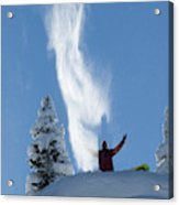 Male Snowboarder Throwing Powder Acrylic Print