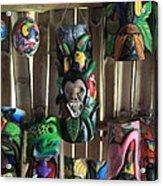 Maleku Balsa Tribal Masks Acrylic Print
