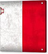 Malta Flag Vintage Distressed Finish Acrylic Print