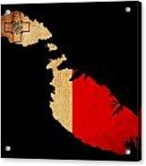 Malta Grunge Map Outline With Flag Acrylic Print