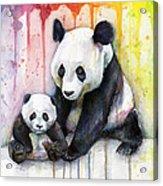Panda Watercolor Mom And Baby Acrylic Print