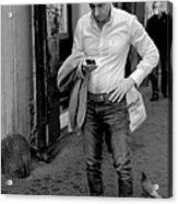 Man And His Phone Acrylic Print