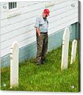 Man At Headstone Acrylic Print