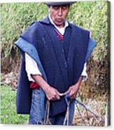 Man At Otavalo Animal Market Ecuador Acrylic Print