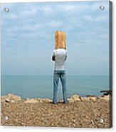 Man By The Sea With Bag On His Head Acrylic Print