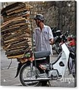 Man Carrying Cardboard On The Back Of His Scooter Acrylic Print
