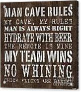 Man Cave Rules 1 Acrylic Print