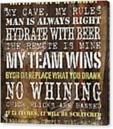 Man Cave Rules 2 Acrylic Print