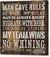 Man Cave Rules Square Acrylic Print by Debbie DeWitt