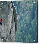 Man Climbing On A Big Granite Spire Acrylic Print
