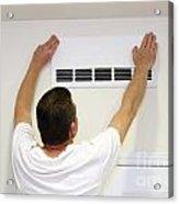 Man Covering Air Vent Acrylic Print
