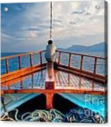 Man Day-deaming On Traditional Greek Ship Acrylic Print