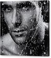 Man Face Wet From Water Running Down It Black And White Acrylic Print
