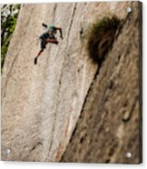 Man Falls While Climbing A Crack Route Acrylic Print