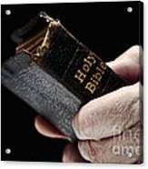 Man Hands Holding Old Bible Acrylic Print