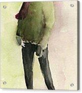 Man In A Green Jacket Fashion Illustration Art Print Acrylic Print
