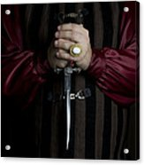 Man In Baroque Outfits Holding A Silver Dagger Acrylic Print
