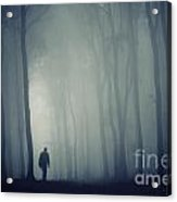 Man In Dark Mysterious Forest With Fog Acrylic Print
