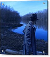Man In Fedora By River Acrylic Print