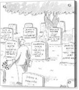 Man In Graveyard Looks At Tombstones Acrylic Print