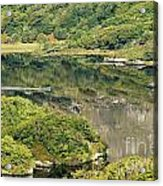 Man In Small Fishing Boat Travelling On Upper Lake Of Killarney National Park County Kerry Ireland Acrylic Print
