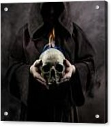 Man In The Hooded Cloak Holding Burning Human Skull In His Hand Acrylic Print