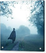 Man In Top Hat And Cape On Foggy Dirt Road Acrylic Print
