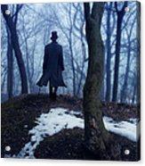 Man In Top Hat Walking Through Foggy Woods Acrylic Print