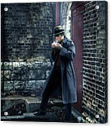 Man In Trenchcoat Lighting A Cigarette Acrylic Print