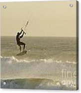 Man Kitesurfing On High Waves Acrylic Print
