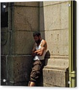 Man Leaning Against Wall In Sun Acrylic Print