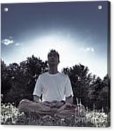 Man Meditating In The Nature During Sunrise Acrylic Print