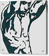 Man Nude Pop Stylised Etching Art Poster  Acrylic Print