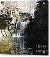Man On A Waterfall Ledge Acrylic Print