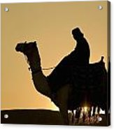 Man On Camel At Dusk Near The Pyramids Acrylic Print