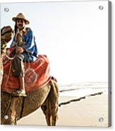 Man On Camel On Beach, Taghazout Acrylic Print