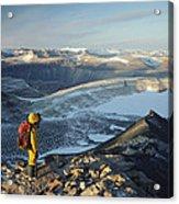 Man Overlooking Olympus Range Antarctica Acrylic Print