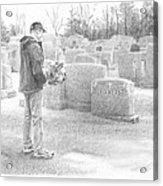 Man Paying Respects Grave Pencil Portrait Acrylic Print