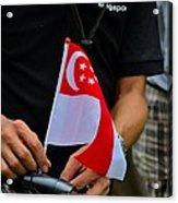 Man Plants Singapore Flag On Bicycle Acrylic Print
