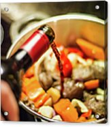 Man Pouring Wine Into Vegetables Acrylic Print