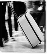 man pulling red wheeled luggage out of Reina Sofia Sur TFS South Airport Tenerife Canary Islands Spain Acrylic Print