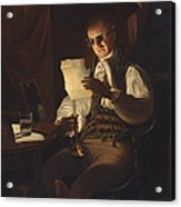 Man Reading By Candlelight Acrylic Print