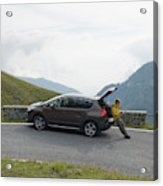 Man Rests On Trunk Of Car On Mountain Acrylic Print