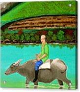 Man Riding A Carabao Acrylic Print