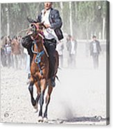Man Riding A Horse At Kashgar Sunday Market China Acrylic Print