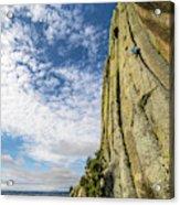 Man Rock Climbing At Devils Tower Acrylic Print