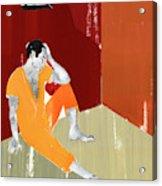 Man Sitting On Floor Of Jail Cell Acrylic Print